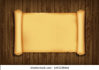 Antique scroll of parchment paper. Empty template on a wooden table. Vector background.