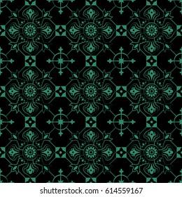 Antique seamless green background check round cross flower