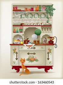 Antique sideboard with dishes and a red cat. Old-fashion sideboard with a lot of kitchen utensils.  includes transparency and gradient mesh