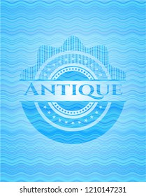 Antique sky blue water wave badge background.