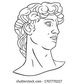 Antique statue head illustration. Isolated lined vector art. Ancient history symbol clipart. Classic standart beauty symbol.