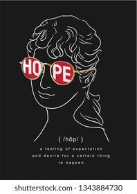 antique statue in hope sunglasses  illustration