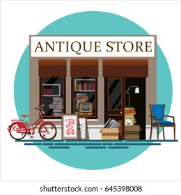 Antique store. Antique shop. Retro store. Store facade. Facade of an antique shop. Illustration of an antique shop in a flat style. Vector illustration Eps10 file