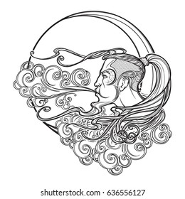Antique style cartography Boreas wind icon. Male head resting on a curly ornate cloud and blowing wind . Decorative element for tattoo textile prints. EPS10 vector illustration