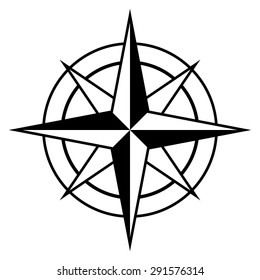 Antique style compass rose icon in black and white for marine and nautical themes, vector design element