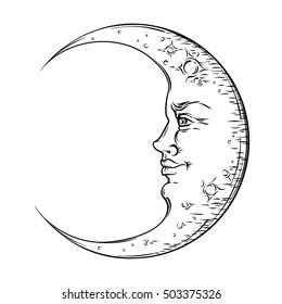 Antique style hand drawn art crescent moon. Boho chic tattoo design vector illustration