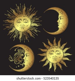 Antique style hand drawn art sun and crescent moon set. Boho flash tattoo design vector gold isolated on black background