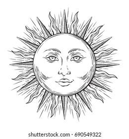 Antique style hand drawn art sun. Boho chic flash tattoo design vector illustration
