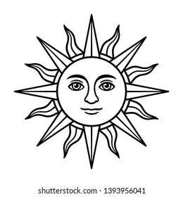 Antique sun symbol with face, vintage heraldic emblem. Sun of May, Inca god Inti, from Argentina and Uruguay national flag. Black and white drawing, isolated vector illustration.