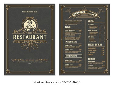 Antique  template for  restaurant menu design with Chef illustration. Vector layered.