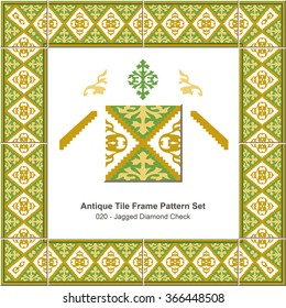 Antique tile frame pattern set_020 Jagged Diamond Check
