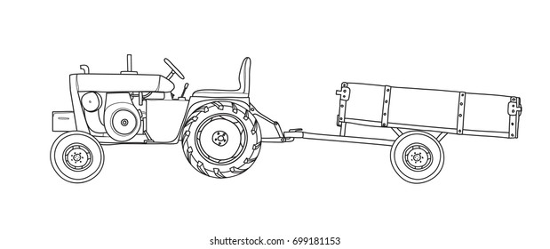 Line Drawing Tractor : Tractor drawn stock images royalty free vectors