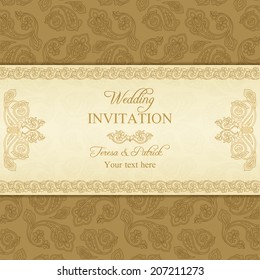 Antique turkish cucumber wedding invitation, beige and gold background