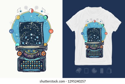 Antique typewriter with paper prints Universe, surreal print for t-shirts and another, trendy apparel design. Symbol of imagination, literature, philosophy, psychology, imagination