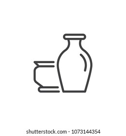 Antique vases outline icon. linear style sign for mobile concept and web design. Museum clay vase simple line vector icon. Symbol, logo illustration. Pixel perfect vector graphics