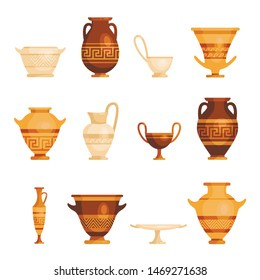 Antique vases set, traditional vintage ornate objects. Vector flat style cartoon Greek and Roman vases illustration isolated on white background