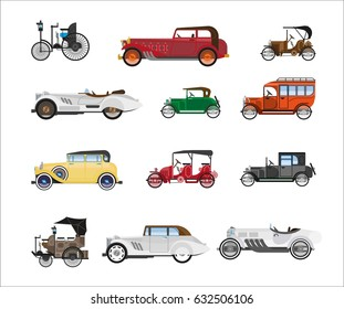 Antique vehicle colorful vector flat poster on white
