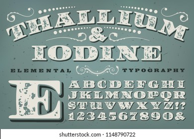 An antique victorian or old-west styled alphabet, such as might be found on an old patent medicine or home remedy label.