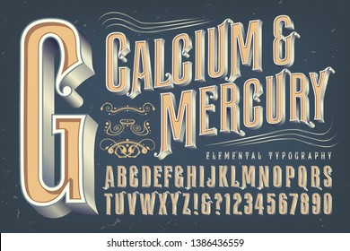 An antique or Victorian style alphabet that would be appropriate for circus, carnival, alcohol bottles, or steampunk themes.
