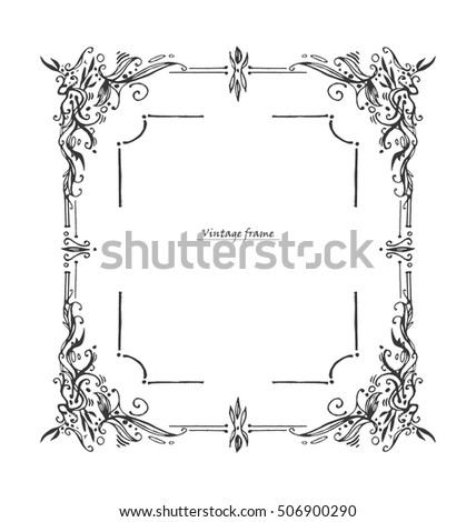 Antique Vintage Frame Graphic Layout Drawn Stock Vector (Royalty ...