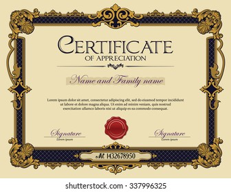 Antique Vintage Ornament frame Certificate of Appreciation
