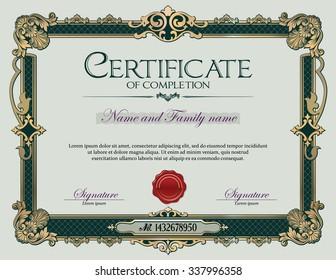 Antique Vintage Ornament frame Certificate of Completion