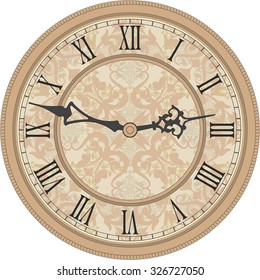 Antique wall clock. Vector image of a round, old clock with Roman numerals.