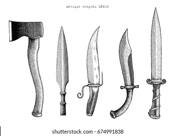 Antique weapons hand drawing engraving illustration