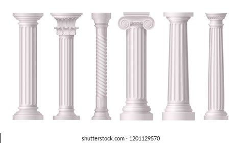 Antique White Columns Realistic Icon Set