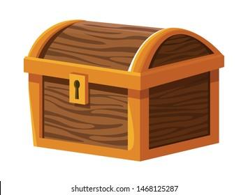 Antique wooden chest with keylock cartoon vector illustration graphic design