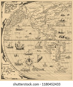 Antique World Map, North America, South America, China. Year 1520