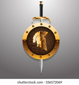 Antiques Roman or Greek helmet for head protection soldiers with sword and golden board vector illustration eps 10