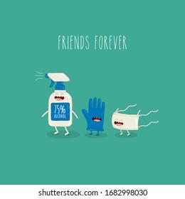 antiseptic, glove and medical mask friends forever coronavirus COVID-19. Vector illustration.