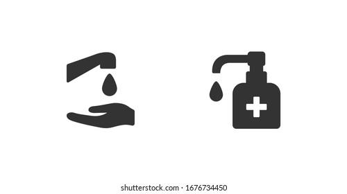 Antiseptische Hygiene, Vektorillustration der Händewaschen. Virus Pflege schwarze Form Linie Silhouette Symbole Sammlung. Antibakterielle Seife. Hand waschen mit Seife und Wasser flach gestalterische Illustration