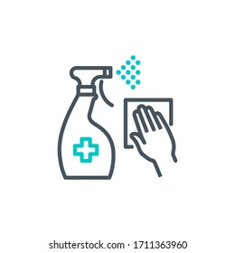 antiseptic spray bottle with hand single line icon isolated on white. outline symbol cleaner Coronavirus pandemic banner. Quality design element antibacterial disinfect surfaces with editable Stroke