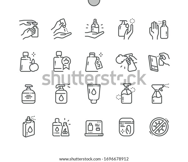 Antiseptic Well-crafted Pixel Perfect Vector Thin Line Icons 30 2x Grid for Web Graphics and Apps. Simple Minimal Pictogram