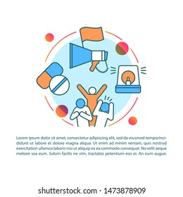 Antisocial behavior article page vector template. Social disorganization. Conflicts and unrest. Brochure, magazine, booklet element with linear icons. Print design. Concept illustrations with text