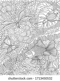 Antistress coloring page. Nature floral pattern with insects and fish.