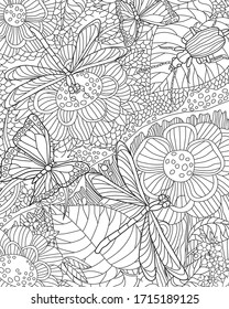 Antistress coloring page. Nature floral pattern with insects