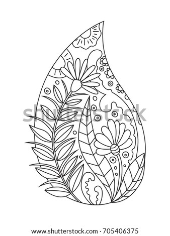 Anti Stress Doodle Coloring Book Page Floral Raindrop For Adults And Children
