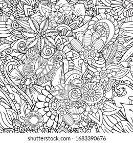 Antistress meditative colouring book style zentangle seamlees pattern