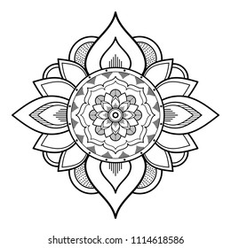 Anti-stress therapy patterns, coloring for adults. Mandala pattern black and white.