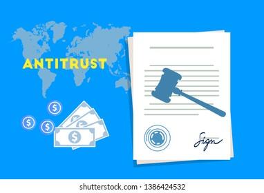 antitrust law monopoly competition hammer paper and money market trust lawsuit - Vector