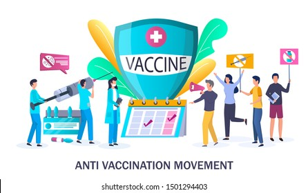 Anti-vaccine protest, vector illustration. Anti vax event, vaccine hesitancy and anti vaccination movement concept with people protesting against mandatory immunization and doctors with syringe.