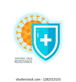 Antiviral drug resistance concept. Bacteria hiding behind a medical shield.