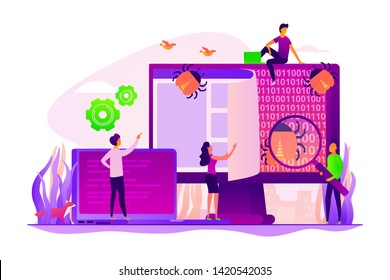 Antivirus app, malware protection. System protection, errors checking. IT software application testing, quality assurance, QA team and bug fixing concept. Vector isolated concept creative illustration