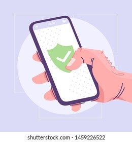 Antivirus application flat vector illustration. Mobile firewall, privacy protection software cartoon concept. Phone safety idea. Hand holding smartphone. Shield with check mark on cell phone screen