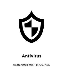 Antivirus icon vector isolated on white background, logo concept of Antivirus sign on transparent background, filled black symbol