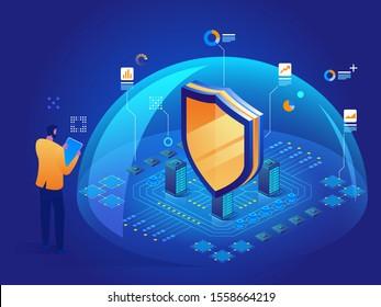 Antivirus-Software Isometrische Vektorgrafik des digitalen Schutzmechanismus Privatsphäre Cybersicherheit Malware-Sicherheitsprogramm Datensicherheit Hacking Web Crime-Virus-Angriff Symbol des Schutzes