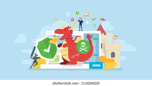 Antivirus Technology Protection Tiny People Character Concept Vector Illustration, Suitable For Wallpaper, Banner, Background, Card, Book Illustration, And Web Landing Page Concept